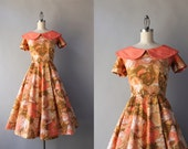 1950s Dress / Vintage 50s Salmon Floral Cotton Dress / 1950s Day Dress