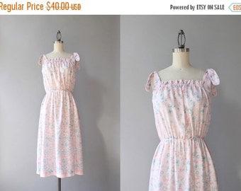 STOREWIDE SALE 1970s Sundress / Vintage 70s Pink Floral Sun Dress / Seventies Cotton Floral Border Print Floral Dress