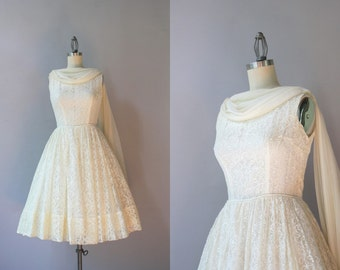 1960s Lace Party Dress / Vintage 60s Chiffon Drape Dress / 1950s Lace Dress