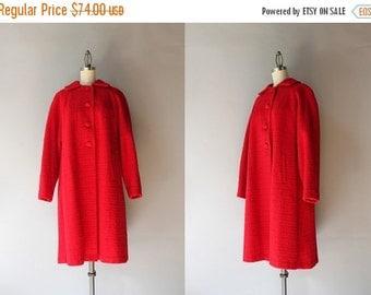 STOREWIDE SALE 1950s Coat / Vintage 50s Apple Red Wool Coat / Fifties Warm Wool Winter Coat