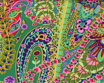 Kaffe Fassett Paisley Jungle Green Fabric 1 yard