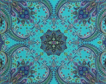 Paisley Turquoise Mystique  Timeless Treasures Fabric Panel