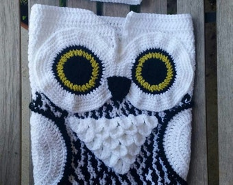 Snowy Owl Cocoon Baby Set, Blanket and Hat, made to order
