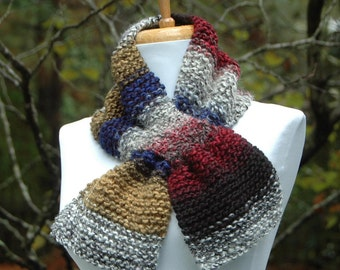Chunky Knit Scarf, Knit Keyhole Scarf, Women Scarf, Winter Scarf, Fall Accessories, Alpaca, Bamboo, Wool Knitted Scarf, Knitted Neck Warmer