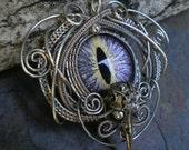 Gothic Steampunk Bird Skull Colorshifting Eye Pin Pendant