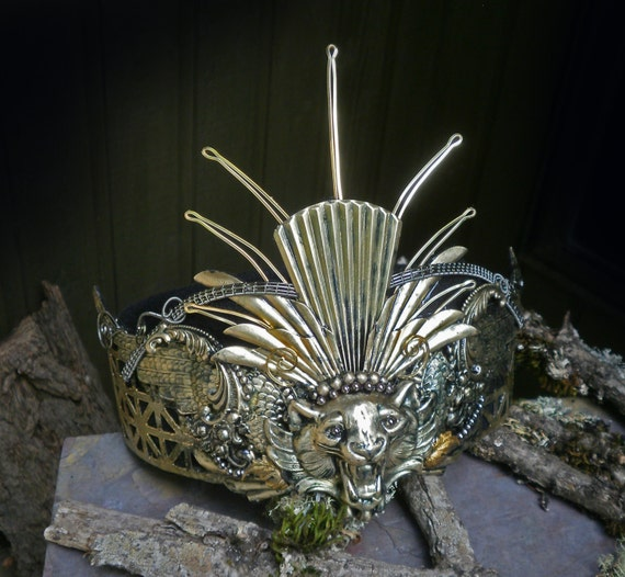 Gothic Steampunk King Lion Crown of Thorns