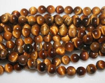 """TIGERS EYE  Tiger""""s Eye Round Beads  6 mm 22 gr 16"""" strand  92215"""