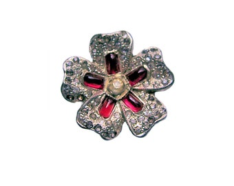 Vintage Rhinestone Button Art Deco Flower Button