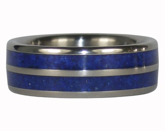 Dark Blue Lapis Titanium Ring Band with Double Inlay
