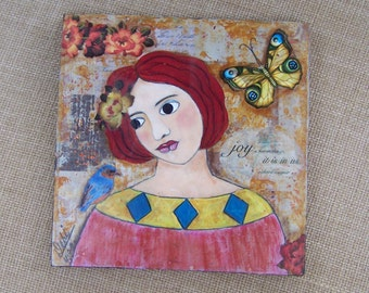 Woman Portrait painting Inspirational Mixed Media encaustic  Bird Butterfly Joy