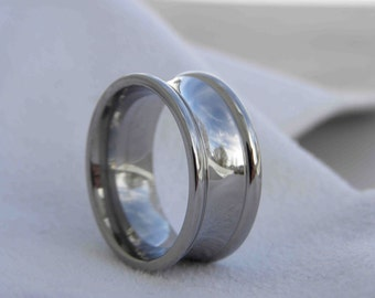 Titanium Ring, Concave Cut with Two Edge Cut Grooves, Polished