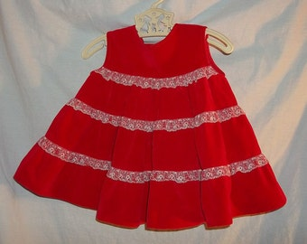 Holiday Xmas Vintage Tiered Red Velvet Baby Jumper Dress  with Lace Infant Doll Clothes Red White