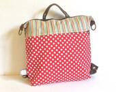 Red and white Polkadots cute convertible women's bag, vegan handbag, cotton backpack,messengers convertible bag,school bag,small diaper bag,