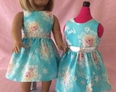 Blue And Silver Elsa Dress / Doll Clothes fits American Girl doll