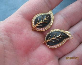 Vintage Orena Gold Black Rhinestone Leaf Clip On Earrings