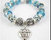 Hot Air Balloon Charm European Bracelet Light Blue Rhinestone and Crystal Beads Tibetan Silver Large Hole Beads