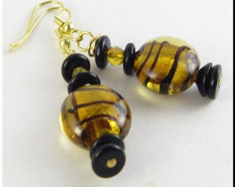 Yellow and Black Striped Murano Lampwork Glass Beadwork Dangle Seed Bead Earrings