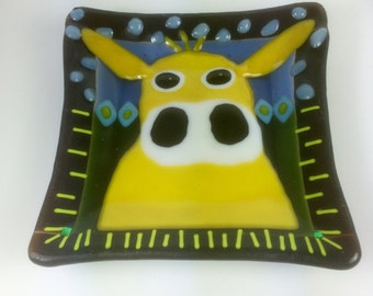 Yellow Cow with stars in her eyes fused glass dish