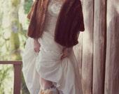 Velvet Dreams-Vintage 1950s Ivory Velvet Wedding Dress-Ballerina Length-Embellished and Embroidered-Champagne Pearls-Exquisite
