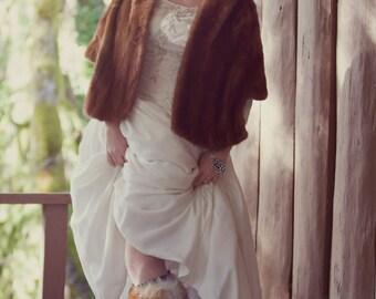 COUPON SALE-Velvet Dreams-Vintage 1950s Ivory Velvet Wedding Dress-Ballerina Length-Embellished and Embroidered-Champagne Pearls-Exquisite