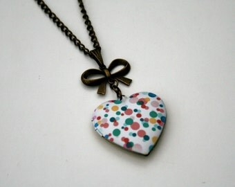 Spotty Locket Necklace, Polka Dot Necklace, Heart Locket Necklace
