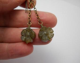 Labradorite Gemstone Dangle Earrings on Brass Chain Drop Gem Jewelry Flower Gemstones
