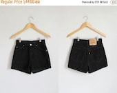VALENTINES DAY SALE Vintage black denim Levi's high waisted shorts / xs - s - 25w