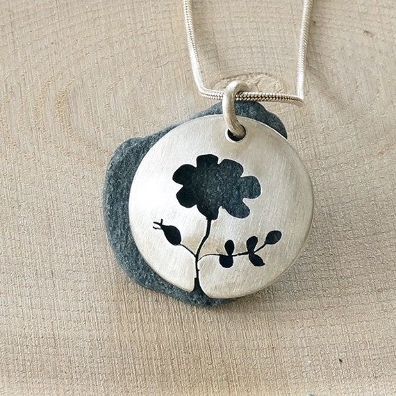 Sterling Sterling and Beach Stone Flower Pendant