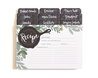 Illustrated Herb Recipe Cards - Set of 50 with dividers // 1canoe2