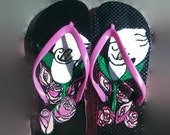 Ladies Pink Flip Flops with Hand Painted White Calla Lilies and Roses Summer Designer Shoes Size Small 5-6 Beach Wedding