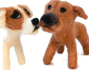 TWO CustomDog Sculptures  - Staffie Art - Pit bull terrier Sculptures - Pet Portrait -  small size