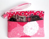 Shades of Pink Wristlet, White Black Small Purse, Floral Clutch, Zip Front Wallet, Camera or Phone Bag, Makeup or Gadget Holder