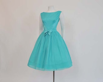 1960s dress / Vintage 50's Chiffon Full Skirt Cocktail Party Dress
