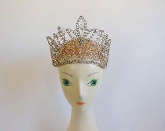 1930s Tiara / Huge Fancy French Vintage 30's Rhinestone Tiara Diadem Crown