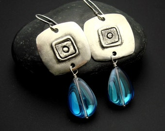 Earrings, silver handmade, artisan, glass, Designs by Suzyn Silver earrings with Irridescent blue glass
