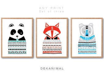 Woodland Nursery, Bear Print, Fox Print, Panda Print, ANIMAL PRINT SET, Animal illustration, Kids room art, Animal Nursery room wall art