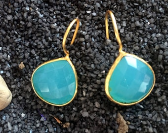 Aqua Blue Chalcedony Earrings - Gemstone Earrings - Gold Earrings - Drop Earrings - Bezel Set Earrings - Dangle Earrings-AHAAVI