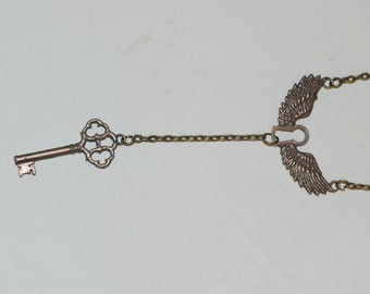 Bronze Winged Keyhole Necklace with Key