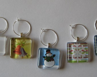 Cute Holiday Glass Tile Wine Charms Set of 5