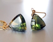 Green trillion, Trillionaire Earrings, Hazel Heaven, green, lemon, orange, bicolor earrings, trillion earrings, leverback earrings