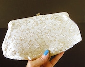 1960s Floral Brocade Clutch with Gold Clasp Evening Bag - Shiny Glittery Glamour Holiday Handbag Bride's Bag