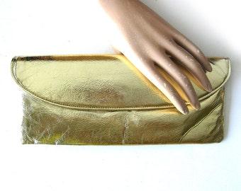 1960s Mod Metallic Gold Envelope Clutch - Shiny Gold Evening Bag Glamour Holiday Handbag