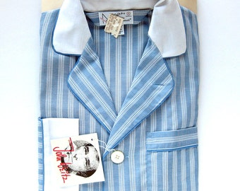 Vintage NOS John Weitz Pajama Set - Blue and White Pinstripes - In Package with Tags - Gift for Him or Her - Business Executive - Small