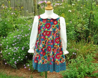 Girls corduroy jumper, toddler dress, red, pink yellow flowers, pleated skirt, turquoise corduroy, ready to ship, size 4T, OOAK