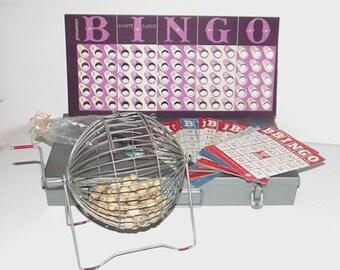 1960s vintage bingo game / 60s bingo set / Vintage Metal and Wood Bingo Set