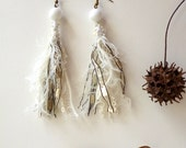 Tassel fiber art earrings, BLACK and WHITE II, bohemian, gypsy, Coachella, statement