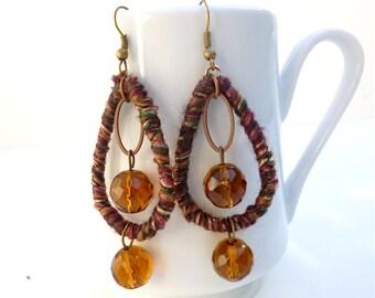 Brown dangling earrings, bohemian, gypsy, Coachella, statement earrings, wearable art