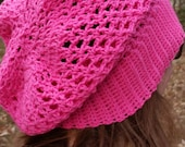 Boho Slouch Hat Pink Light Weight Crocheted Hat Winter Hat