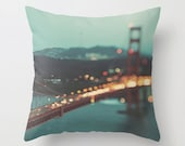pillow cover, San Francisco decorative throw pillow cover, Golden Gate bridge photo, bokeh, west coast home decor, peppermint blue, gold
