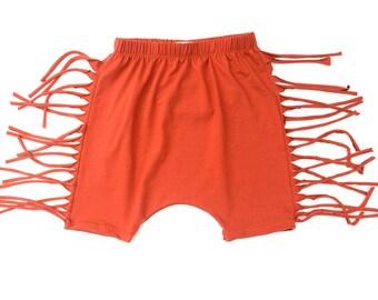 Toddler's Orange Fringe Knee Shorts